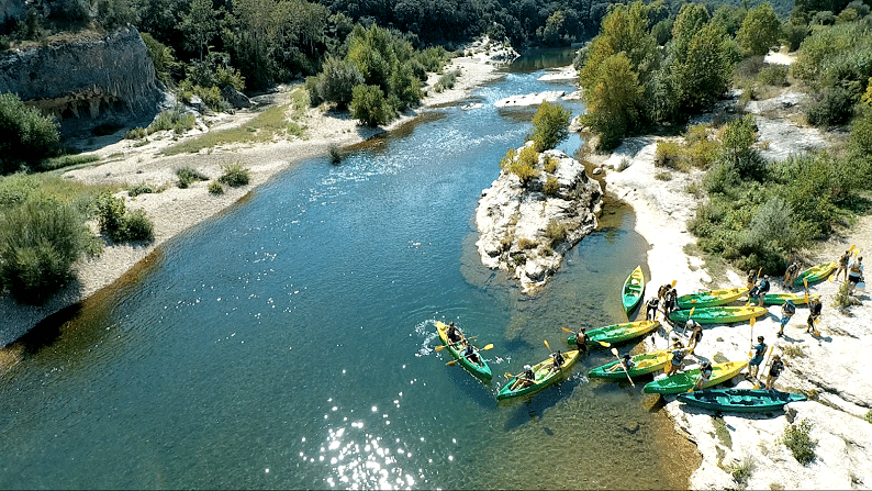 Location de Kayak sur le Gardon à Collias, Pont du Gard, La Baume